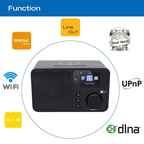 Ocean Digital Internet Radio WiFi Music Streamer with Alarm Clock/  Snooze/Sleep timer Desktop Media Player 2 4'' Color Display- Black