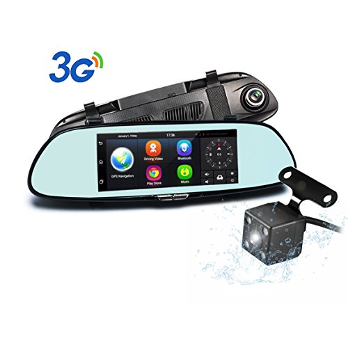 "Podofo Dash Cam 7"" Android 5.0 GPS Navigation 3G Car Camera 1080P Full HD Car DVR Dashboard Camera Recorder Built-In WiFi & Wide-Angle Lens, Loop Recording, Night Vision, Parking Monitor"
