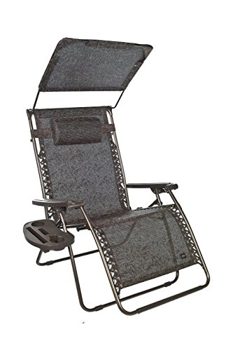 "Bliss Hammocks Zero Gravity Chair with Canopy and Side Tray, Brown Jacquard, 33"" Wide"
