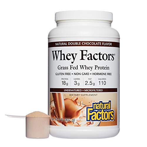 Natural Factors - Whey Factors, 100% Natural Whey Protein, Double Chocolate, 45 Servings (2 lbs)