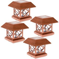 GreenLighting Summit Solar Post Cap Light for 4x4 Wood Posts 4 Pack (Brushed Copper)
