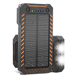 X-DRAGON Solar Charger, 10000mAh Solar Power Bank with Dual USB, 4 Solar Panels, LED Flashlight Solar Phone Charger for iPhone, Cell Phone, Samsung, ipad, Outdoor, Camping and More-Green