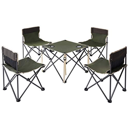 Costzon Kids Portable Folding Table And 4 Chairs Set