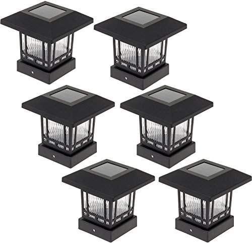 Westinghouse Solar 20 Lumens 4x4 Post Light for Wood Posts (Black, 6 Pack)