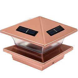 Greenlighting High End Solar LED Post Cap Light for 4 x 4 Wood Posts (Copper)