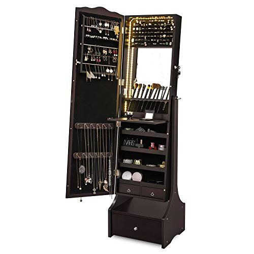 SONGMICS LED Jewelry Cabinet Lockable Jewelry Armoire with Full Length Mirror