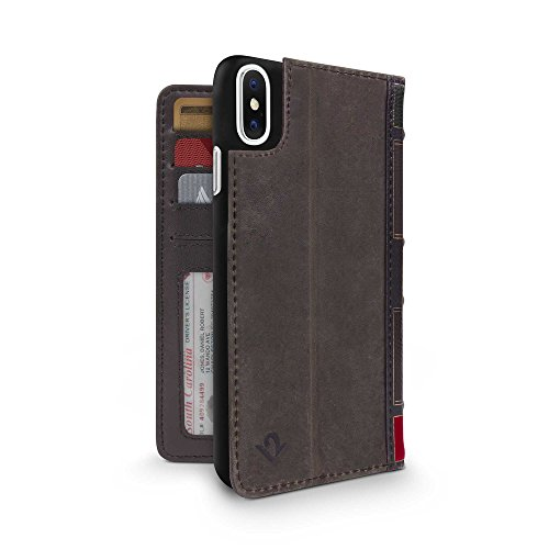 Twelve South BookBook for iPhone XS / iPhone X ,Display Stand and Removable Shell (Brown)