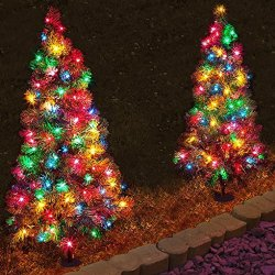 Set of 4, Pre-Lit 3' Tall Artificial Pathway Christmas Trees