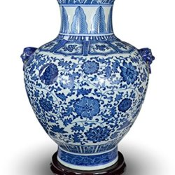 """Festcool 18"""" Classic Blue and White Floral Porcelain Vase"""