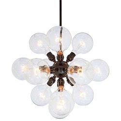 """Rivet Satellite 15-Bulb Chandelier, 44.75""""H, With Bulbs, Black"""