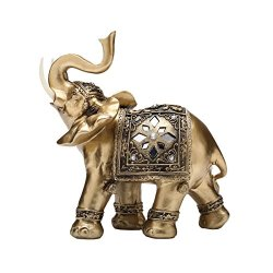TOUCH MISS Golden Thai Elephant with Trunk Raised Collectible