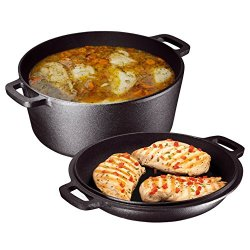 Heavy Duty Pre-Seasoned 2 In 1 Cast Iron Double