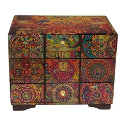 NOVICA Decoupage Wood Jewelry Box Chest of Drawers