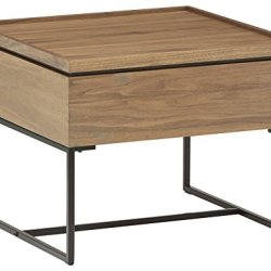 Rivet Axel Lift-Up Wood Metal Side Table, Walnut