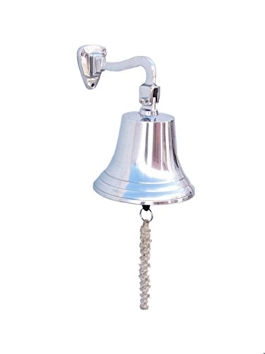 "Chrome Hanging Ship's Bell 9"" - Naval Chrome Bell"