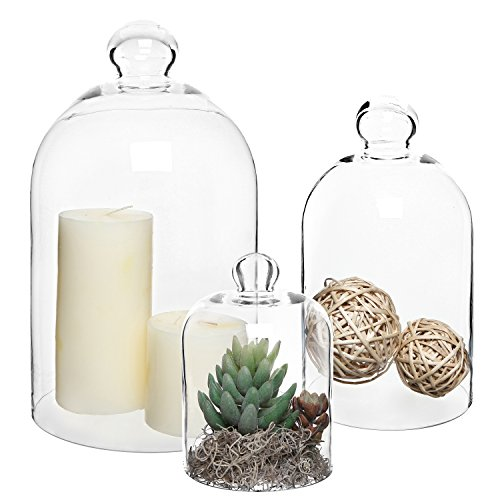 MyGift Set of 3 Decorative Clear Glass Apothecary Cloche