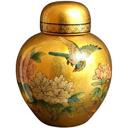 "Oriental Furniture 13"" Gold Ginger Jar"
