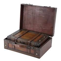 Vintiquewise TM Old Style Suitcase/Decorative Box with Straps