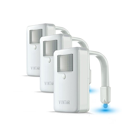[3-Packs] Vintar 16-Color Motion Sensor LED Toilet Night Light