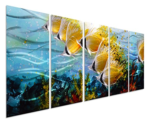 Blue Tropical School of Fish Metal Wall Art
