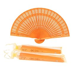 Sepwedd Set of 50pcs Sandalwood Fan Folding Orange