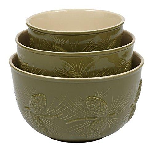Pinecone Ceramic Mixing Bowls Set of 3