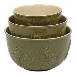 Pinecone Ceramic Mixing Bowls Set of 3