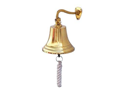 """Brass Hanging Ship's Bell 9"""" - Brass Bell - Decorative Brass Bell"""