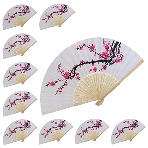 100 pcs Delicate Cherry Blossom Design Silk Folding