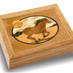 MarqART Horse Wood Art Trinket Jewelry Box & Gift