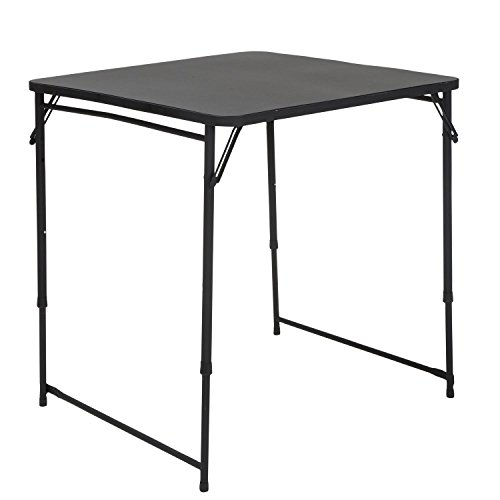 """COSCO 34"""" Square Adjustable Height PVC Top Table, Black"""