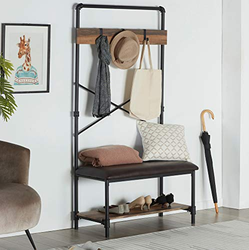 Homissue Industrial Pipe Hall Tree with Storage Bench