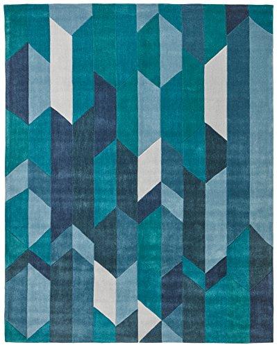 Rivet Geometric Color Blocking Rug, 4' x 6', Blue