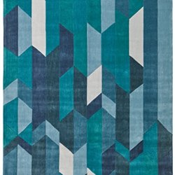 Rivet Geometric Color Blocking Rug, 4' x 6', Blue