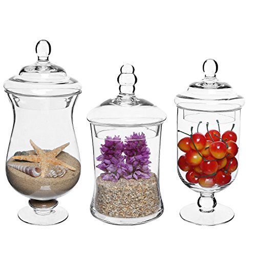 MyGift Set of 3 Small Clear Glass Storage & Display Canisters