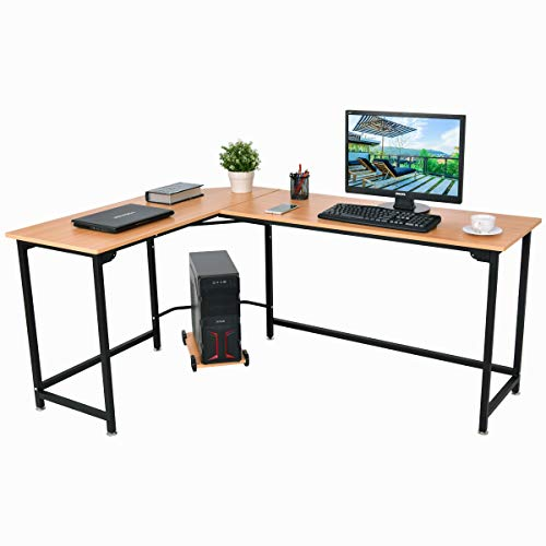 TANGKULA Computer Desk L-Shaped Corner Writing Table
