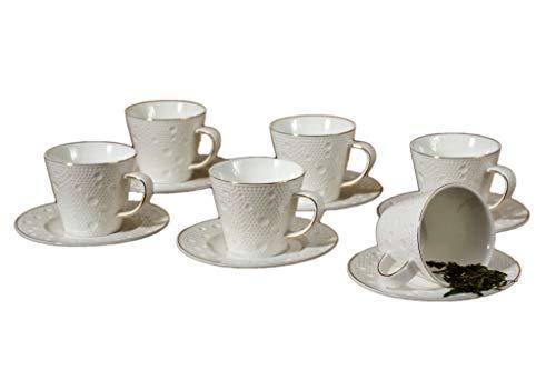 Fine Porcelain Cappuccino Cups and Saucers, 12 Piece Set