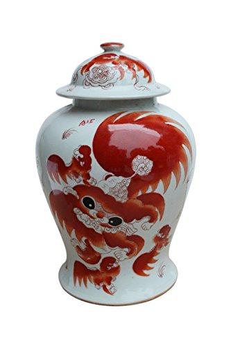 Asian Traditional Chinese Orange Lion Temple Jar Ceramic
