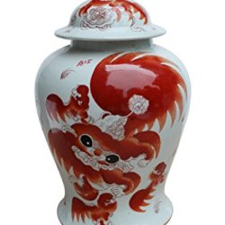 Asian Traditional Chinese Orange Lion Temple Jar Ceramic