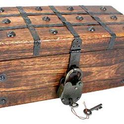 "Treasure Chest Pirate Large 12"" x 6"" x 5"" Wooden Locking"