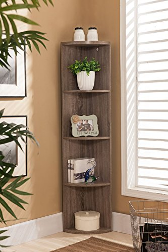 Kings Brand Furniture Wood Wall Corner 5 Tier Bookshelf Display Stand