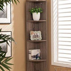 Kings Brand Furniture Wood Wall Corner 5 Tier Bookshelf Display Stand