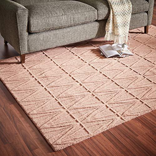 Rivet Sunset Textured Geo Pattern Wool Area Rug