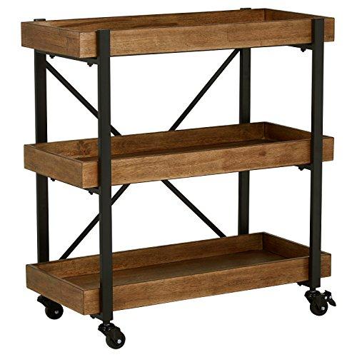 "Rivet Modern Wood Bar Cart, 32""H, Black"