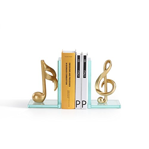 Danya B.Decorative Gold Musical Notes Glass Bookends