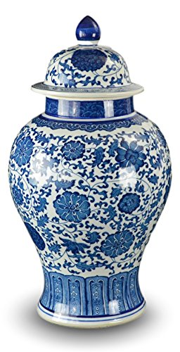 "20"" Classic Blue and White Porcelain Floral Temple Jar Vase"