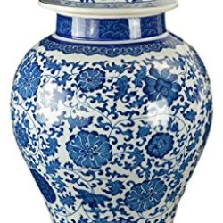 "20"" Classic Blue and White Porcelain Floral Temple Jar Vase"