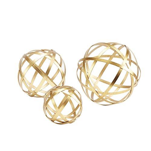 Silverwood 3 Piece Metal Golden Band Decorative Spheres Set