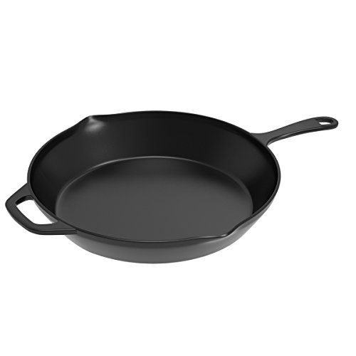 Home-Complete SYNCHKG092261 HC-5002 Pre-Seasoned Cast Iron Skillet-12 inch for Home, Camping, Indoor and Outdoor Cooking, Frying, Searing and Baking, 12 inch, Black