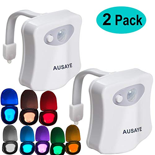 Toilet Night Light(2Pack) by AUSAYE, 8-Color Led Motion